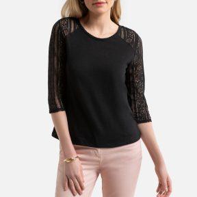 Βαμβακερή μπλούζα με δαντελωτά μανίκια
