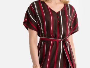 Χυτό ριγέ φόρεμα με μήκος μίντι