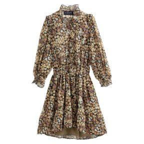Φόρεμα με σούρες και βολάν